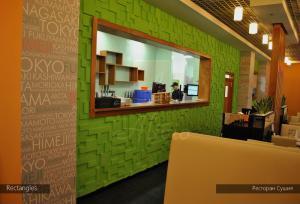 Гипсовые 3d панели Alivio серии Rectangles в ресторане Сушия , 3д панель, 3d wallpanel, производитель цена купить Украина  alivio.com.ua