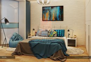 Гипсовые 3d панели Alivio серии Welle в спальне , 3д панель, 3d wallpanel, производитель цена купить Украина  alivio.com.ua
